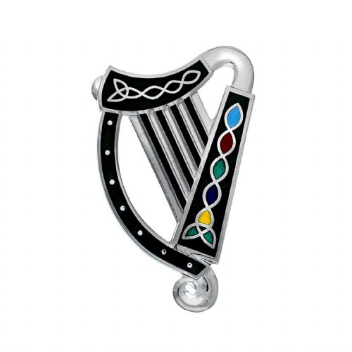Irish Harp Brooch Silver Plated Brand New Gift Packaging